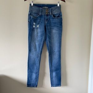 Rue 21 mid rise skinny blue bleached jeans 1/2R